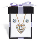 Cubic-Zirconia-Stud-Earrings-and-CZ-in-Motion-Heart-Necklace-Set-2.56-TCW-in-14k-Gold...