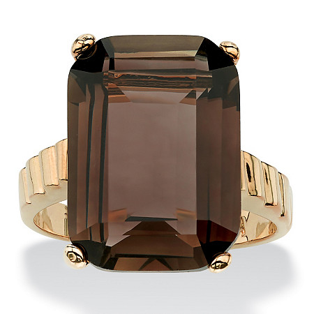 10.75 TCW Genuine Emerald-Cut Smoky Quartz Step-Top Ring 14k Gold-Plated at PalmBeach Jewelry