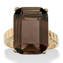10.75 TCW Genuine Emerald-Cut Smoky Quartz Step-Top Ring 14k Gold-Plated