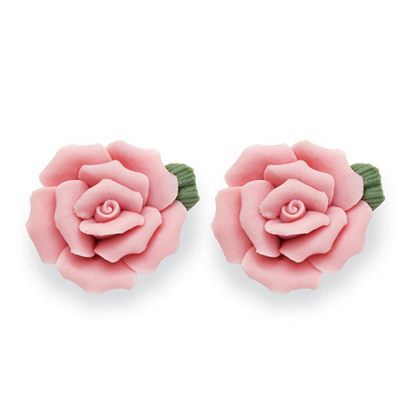 Pink Ceramic Blooming Rose Stud Earrings with Surgical Steel Posts at PalmBeach Jewelry