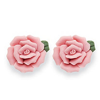 Pink Ceramic Blooming Rose Stud Earrings with Surgical Steel Posts