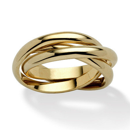 Yellow Gold-Plated Rolling Triple Band Crossover Ring at Direct Charge presents PalmBeach