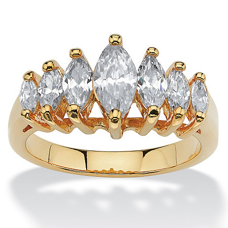 1.50 TCW Marquise-Cut Cubic Zirconia 18k Yellow Gold-Plated Anniversary Ring at PalmBeach Jewelry