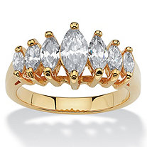 1.50 TCW Marquise-Cut Cubic Zirconia 14k Yellow Gold-Plated Anniversary Ring