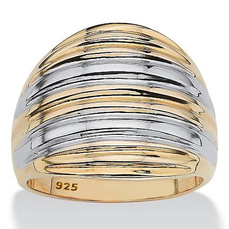 18k Gold over Sterling Silver Two-Tone Dome Ring at PalmBeach Jewelry
