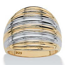 18k Gold over Sterling Silver Two-Tone Dome Ring