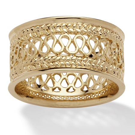 Open Weave Decorative Ring in 14k Gold-Plated at PalmBeach Jewelry