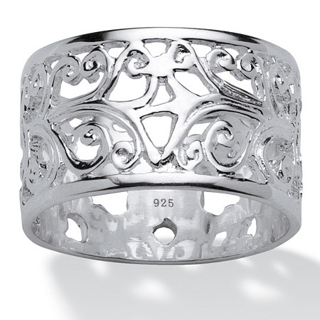 Vintage-Inspired Filigree Band in Sterling Silver at PalmBeach Jewelry