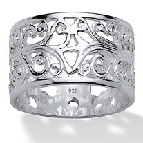 SETA JEWELRY Vintage-Inspired Filigree Band in Sterling Silver
