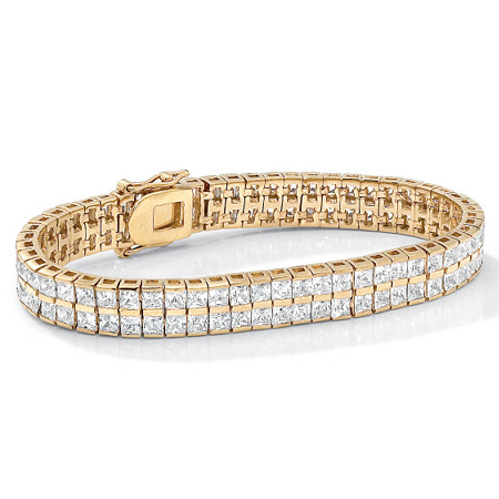 "6 TCW Princess-Cut Cubic Zirconia Double-Row Tennis Bracelet in Yellow Gold Tone 7 1/4"" at PalmBeach Jewelry"