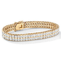SETA JEWELRY 6 TCW Princess-Cut Cubic Zirconia Double-Row Tennis Bracelet in Yellow Gold Tone 7 1/4