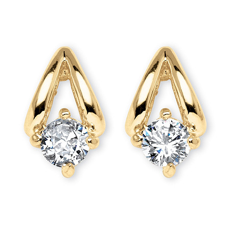 .80 TCW Round Cubic Zirconia Earrings in Yellow Gold Tone at PalmBeach Jewelry