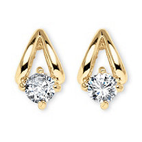 .80 TCW Round Cubic Zirconia Earrings in Yellow Gold Tone