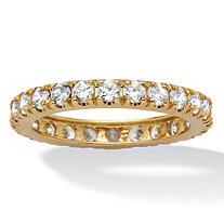 SETA JEWELRY 2.40 TCW Round Cubic Zirconia Eternity Band in Solid 10k Gold