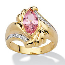 SETA JEWELRY 2.05 TCW Marquise-Cut Pink Cubic Zirconia Ring in 14k Gold-Plated