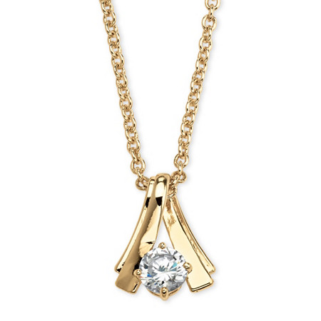 """1.08 TCW Round Cubic Zirconia Twist Solitaire Pendant Necklace in Yellow Gold Tone 18"""" at PalmBeach Jewelry"""
