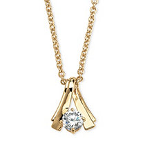 1.08 TCW Round Cubic Zirconia Twist Solitaire Pendant Necklace in Yellow Gold Tone 18