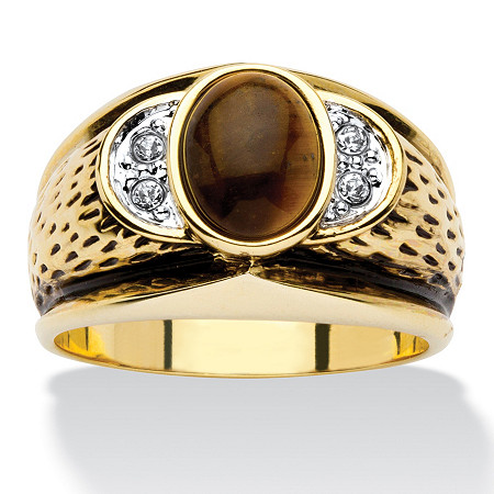 Men's Oval-Shaped Genuine Tiger's Eye Crystal Accent 14k Yellow Gold-Plated Antique-Finish Ring at PalmBeach Jewelry