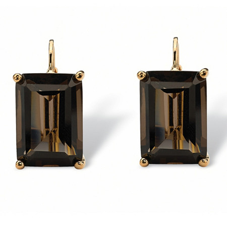 14.50 TCW Emerald-Cut Smoky Quartz 18k Gold-Plated Drop Earrings at PalmBeach Jewelry