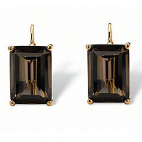 14.50 TCW Emerald-Cut Smoky Quartz 18k Gold-Plated Drop Earrings