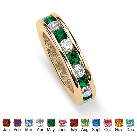 Round Birthstone Baby Ring Charm in 14k Gold-Plated at PalmBeach Jewelry