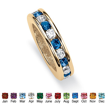 Round Simulated Birthstone Baby Ring Charm in 14k Gold-Plated at PalmBeach Jewelry