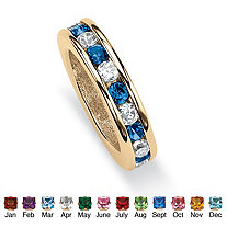 Round Simulated Birthstone Baby Ring Charm in 14k Gold-Plated