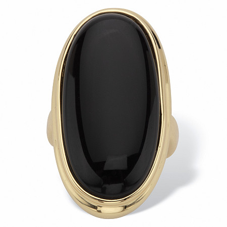 Oval-Shaped Genuine Onyx 14k Yellow Gold-Plated Ring at PalmBeach Jewelry