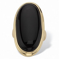 Oval-Shaped Genuine Onyx 14k Yellow Gold-Plated Ring