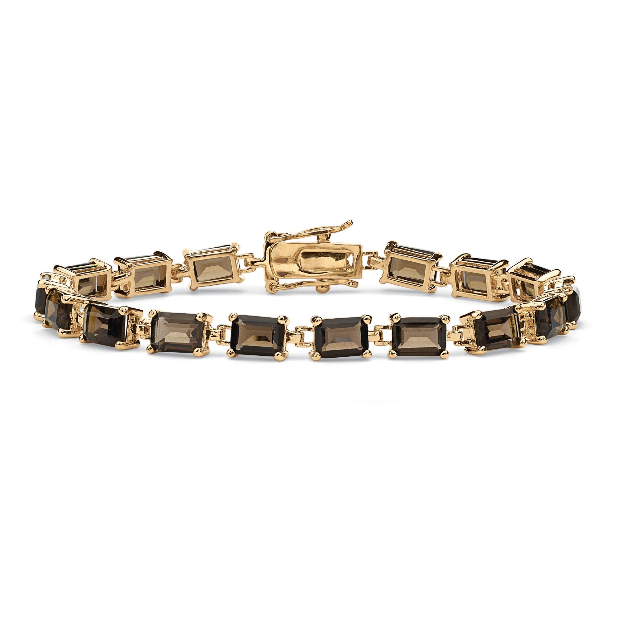 8af9886d827 16 TCW Emerald-Cut Genuine Smoky Quartz 14k Yellow Gold-Plated Tennis  Bracelet 7