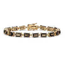16 TCW Emerald-Cut Genuine Smoky Quartz 14k Yellow Gold-Plated Tennis Bracelet 7 1/4""