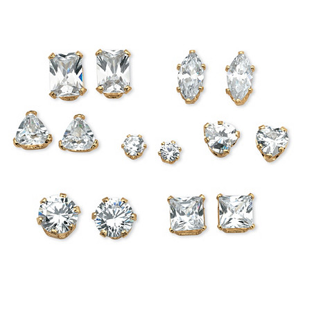 8 TCW Cubic Zirconia Seven-Pair Set of Stud Earrings in 18k Gold over Sterling Silver at PalmBeach Jewelry