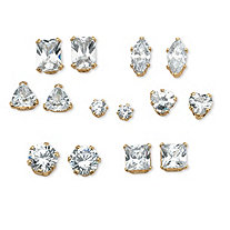 SETA JEWELRY 8 TCW Cubic Zirconia Seven-Pair Set of Stud Earrings in 18k Gold over Sterling Silver