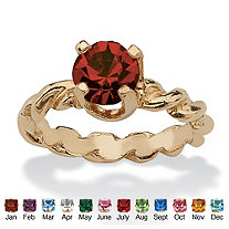 SETA JEWELRY Round Birthstone 10k Gold Baby Ring Charm