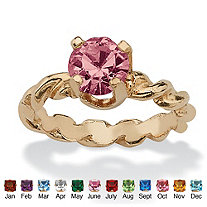 SETA JEWELRY Round Simulated Birthstone 10k Gold Baby Ring Charm