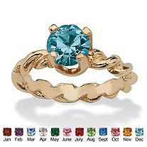 Round Birthstone 10k Gold Baby Ring Charm