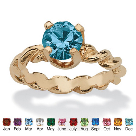 Round Simulated Birthstone 10k Gold Baby Ring Charm at PalmBeach Jewelry