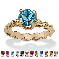 Round Simulated Birthstone 10k Gold Baby Ring Charm