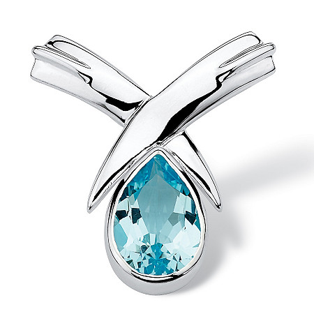 6.50 TCW Pear Cut Blue Genuine Topaz Sterling Silver Slide Pendant at PalmBeach Jewelry