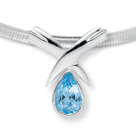 6 50 Tcw Pear Cut Blue Genuine Topaz Sterling Silver Slide