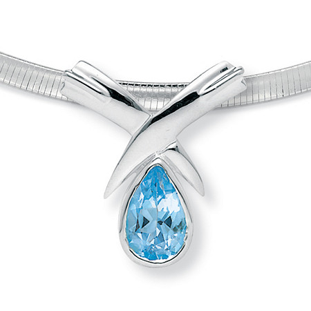 6.50 TCW Pear Cut Blue Genuine Topaz Sterling Silver Slide Pendant and Omega-Link Necklace 16