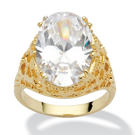 9.32 TCW Oval Cut Cubic Zirconia 14k Yellow Gold-Plated Textured Cocktail Ring at PalmBeach Jewelry