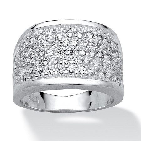 3.60 TCW Round Cubic Zirconia Sterling Silver Ring at PalmBeach Jewelry