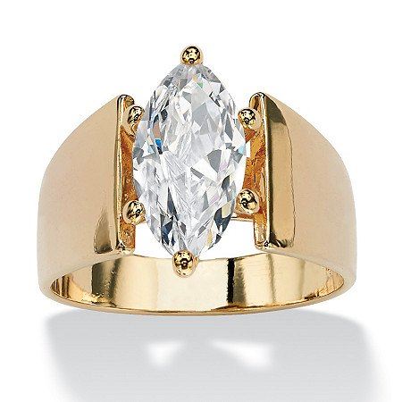 2.48 TCW Marquise-Cut Cubic Zirconia Solitaire Engagement Anniversary Ring in 14k Gold-Plated at PalmBeach Jewelry