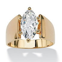 SETA JEWELRY Marquise-Cut Cubic Zirconia Solitaire Engagement Anniversary Ring 2.48 TCW in 14k Gold-Plated
