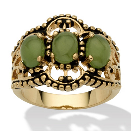 Oval Genuine Green Jade Antiqued 14k Yellow Gold-Plated Triple-Stone Filigree Ring at PalmBeach Jewelry