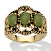 Related Item Oval Genuine Green Jade Antiqued 14k Yellow Gold-Plated Triple-Stone Filigree Ring