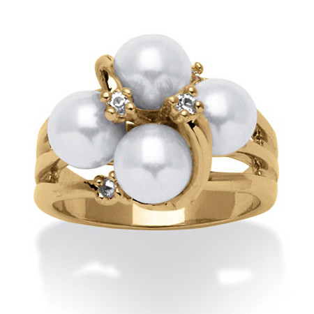 Round Simulated Pearl and Austrian Crystal Accent Ring in 14k Yellow Gold-Plated at PalmBeach Jewelry