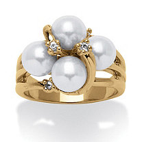 Round Simulated Pearl and Austrian Crystal Accent Ring in 14k Yellow Gold-Plated