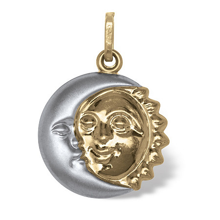 Two-Tone 14k Gold Sun and Moon Drop Pendant at PalmBeach Jewelry